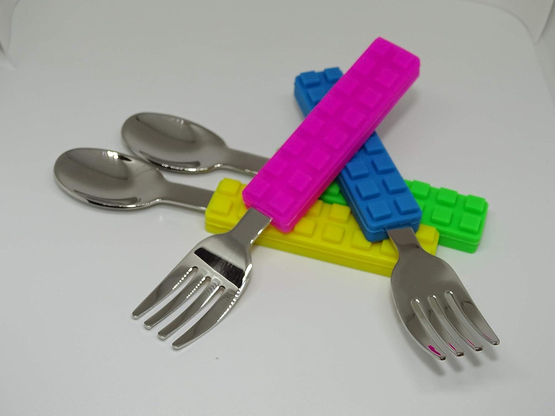 SMARTY Posate per Bambini Lego FORCHETTA E CUCCHIAINO in Silicone 2 Coppie
