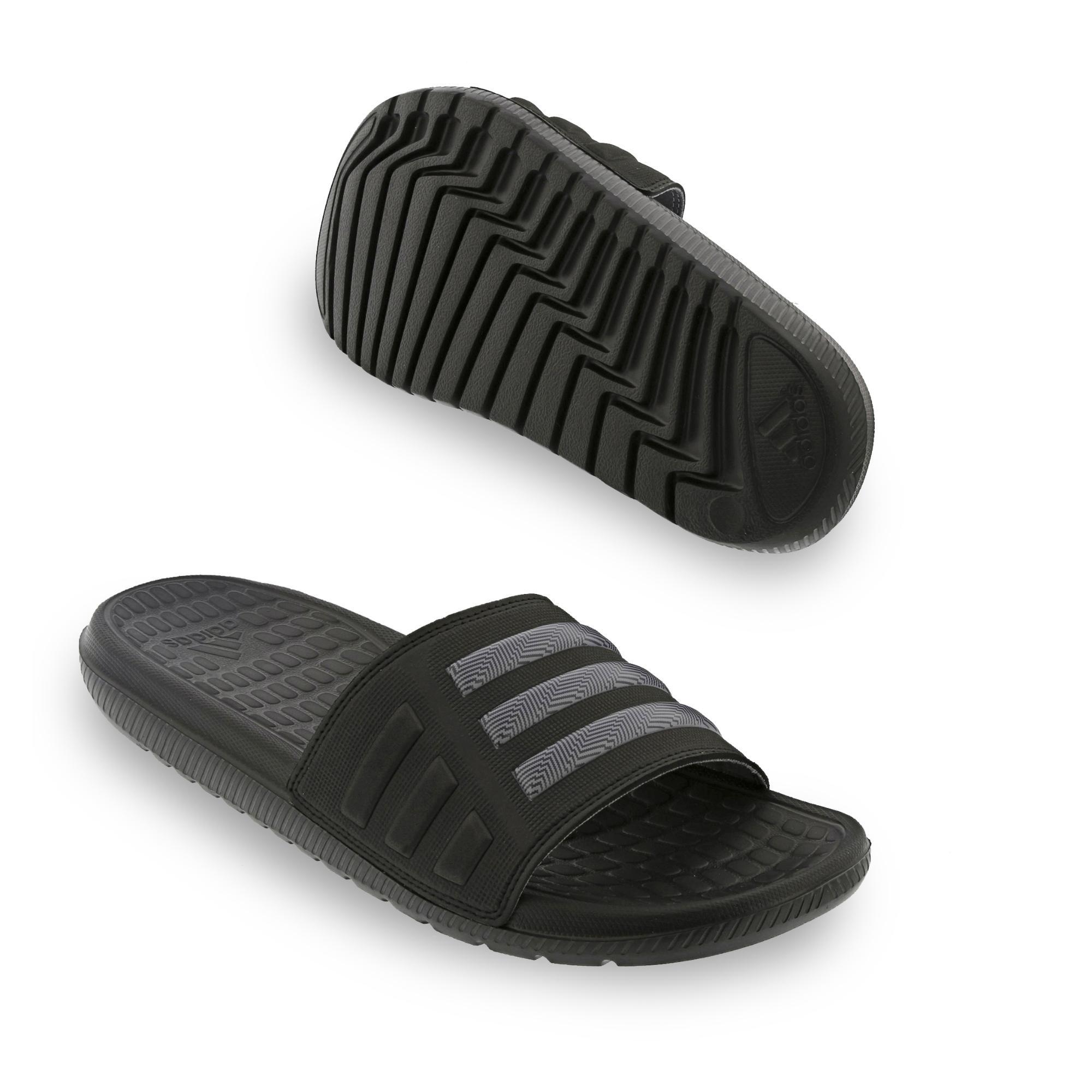 adidas Adilette Badeschuhe Badesandale Mungo QD 2.0, Farbe:Schwarztöne;Größe:UK 11 - EUR 46 - 28.5 cm