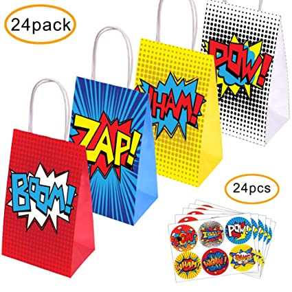 Amazon.com: Superhéroe Party Supplies Favors, 24 bolsas de ...