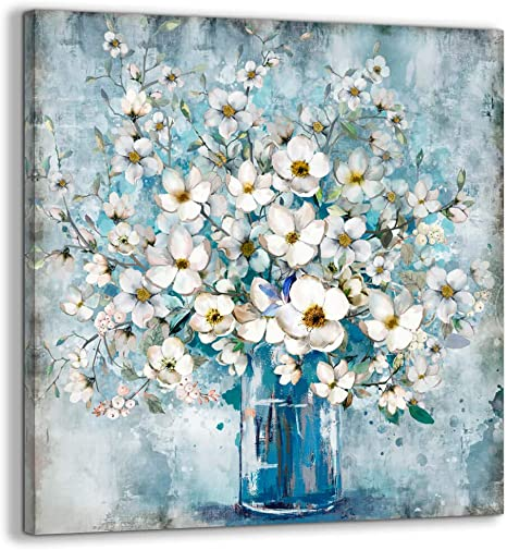Amazon Com Bathroom Decor Canvas Wall Art Framed Wall Decoration Modern Gallery Wall Decor Print White Flower In Blue Bottle Theme Picture Artwork For Walls Ready To Hang For Kitchen Bedroom Decor Size