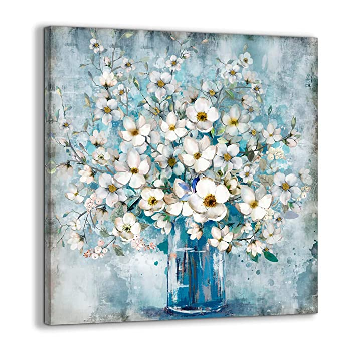 Bedroom Decor Canvas Wall Art Framed Wall Decoration Modern Gallery Wall Decor Print White Flower in Blue Bottle Theme Picture Artwork for Walls Ready to Hang for Kitchen Bathroom Decor Size 14x14