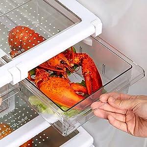 Refrigerator Drawers Orgainzer, LALASTAR Mini Divided Fridge Drawer, Pull Out Refrigerator Storage Drawers for Food, Fit for Fridge Shelf Under 0.6