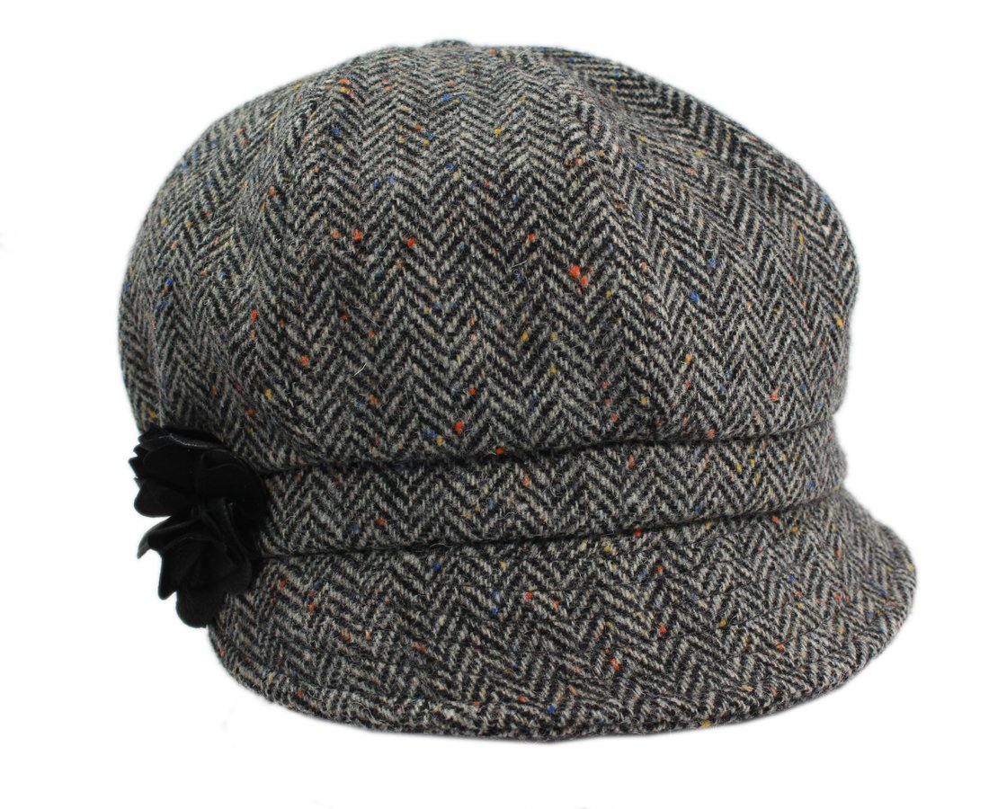 Mucros Women's Newsboy Cap Grey Herringbone 100% Wool Made in Ireland