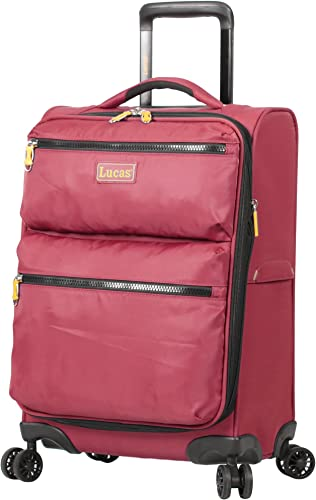 Lucas Ultra Lightweight Carry On – Softside 20 Inch Expandable Luggage – Small Rolling Bag Fits Most Airline Compartments – Durable 8-Spinner Wheels Suitcase Red