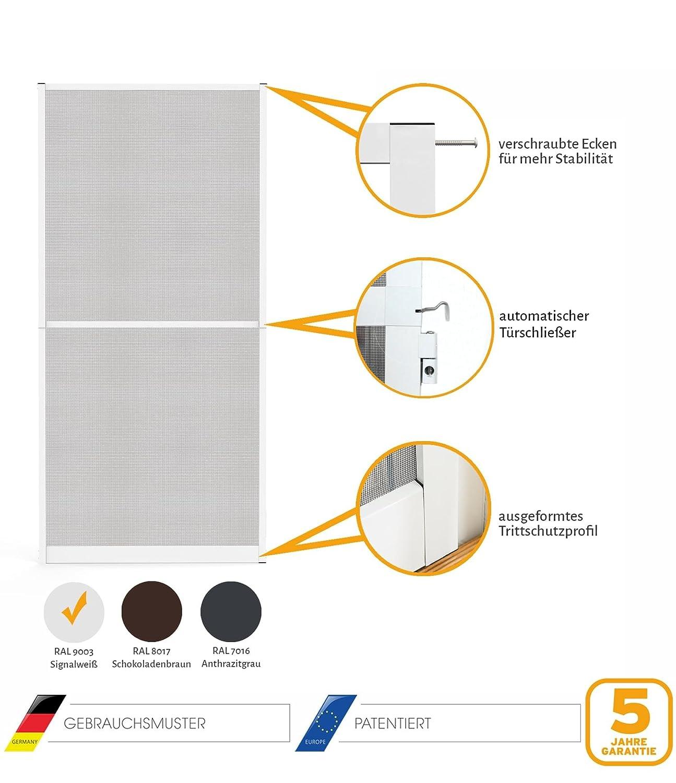 Fliegengittert/ür in den Varianten Bausatz Insektenschutz T/ür Master Slim 100 x 210 cm mit Alurahmen in Wei/ß Anthrazit oder Braun auf Ma/ß zugeschnitten und komplett aufgebaut