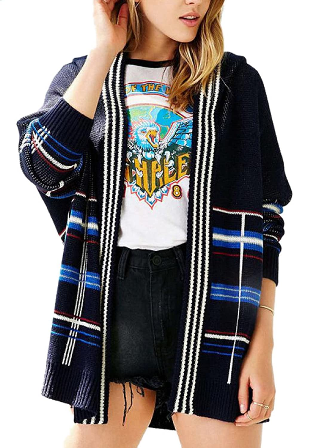 Enlishop Women's Fashion Loose Blue Plaid Striped Hooded Sweater Knit Cardigan