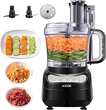 Aicok - Robot de cocina multifunción de 1,8 litros, 3 velocidades ajustables, picadora de cocina eléctrica apta para carne, especias, frutas, verduras, amasar: Amazon.es: Hogar