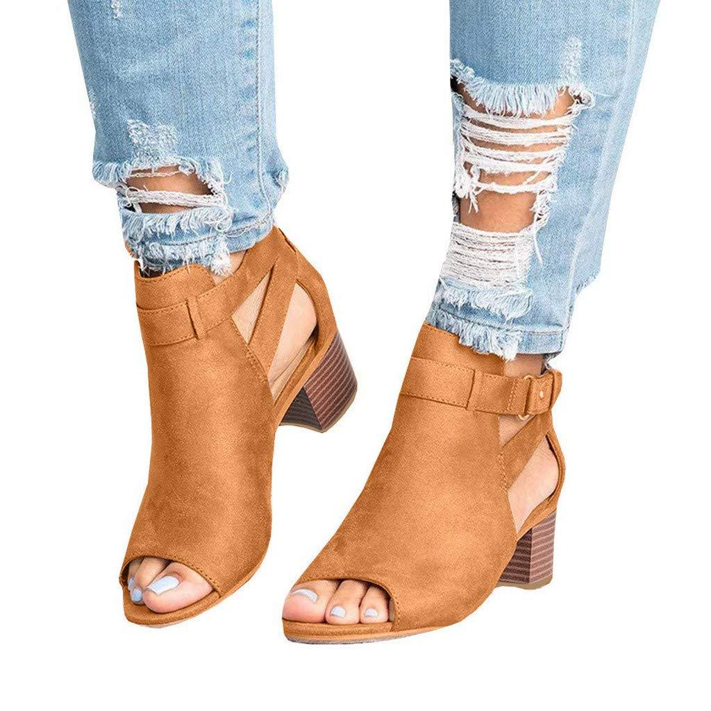 f017e11d0f0 Amazon.com  Women Low Heel Sandals Open Toe Ankle Strap Cut Out Wedge  Sandals Block Heel Platform Shoes (Brown