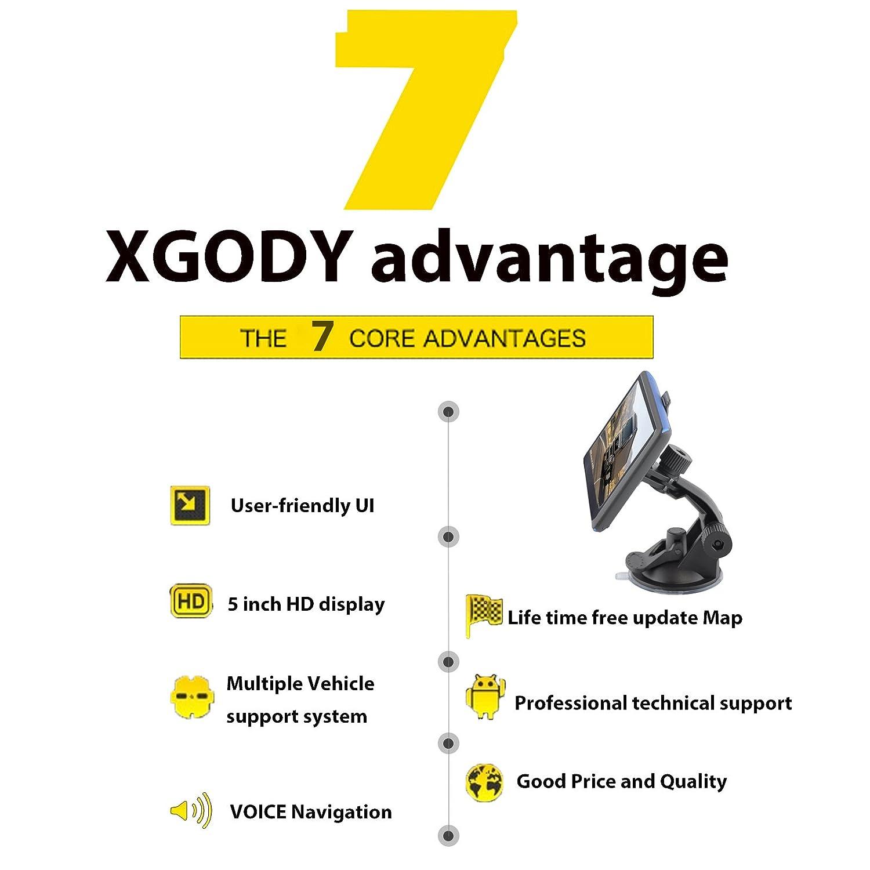 Xgody 504/navigatore satellitare portatile auto camion GPS Navigation 12,7/cm touch screen Built-in 8/GB ROM Lifetime Map Spoken Turn-by-Turn direzioni con parasole veicolo Navigator