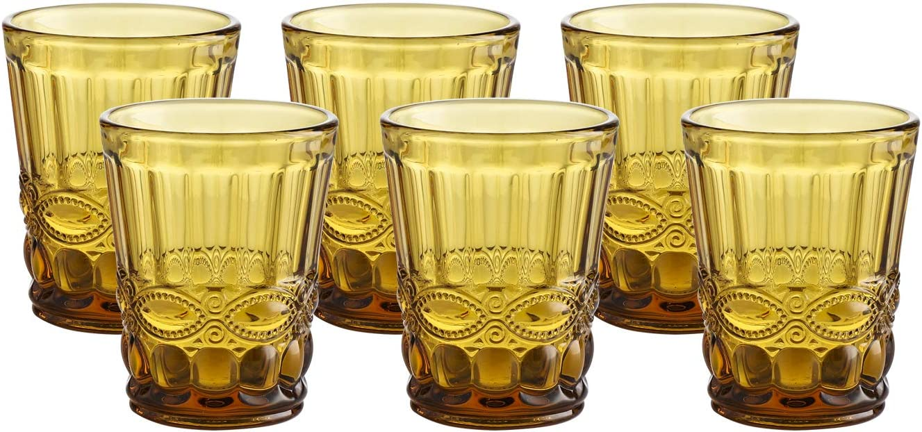 Colored Water Glass Vintage-Pressed Pattern 8 Ounce Wedding Wine Glass set of 6- Solid Glass Color (Amber)