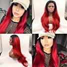 Lucyhairwig red Natural straight synthetic lace front wig with black roots red ombre wavy glueless wigs for woman heat resistant fiber hair
