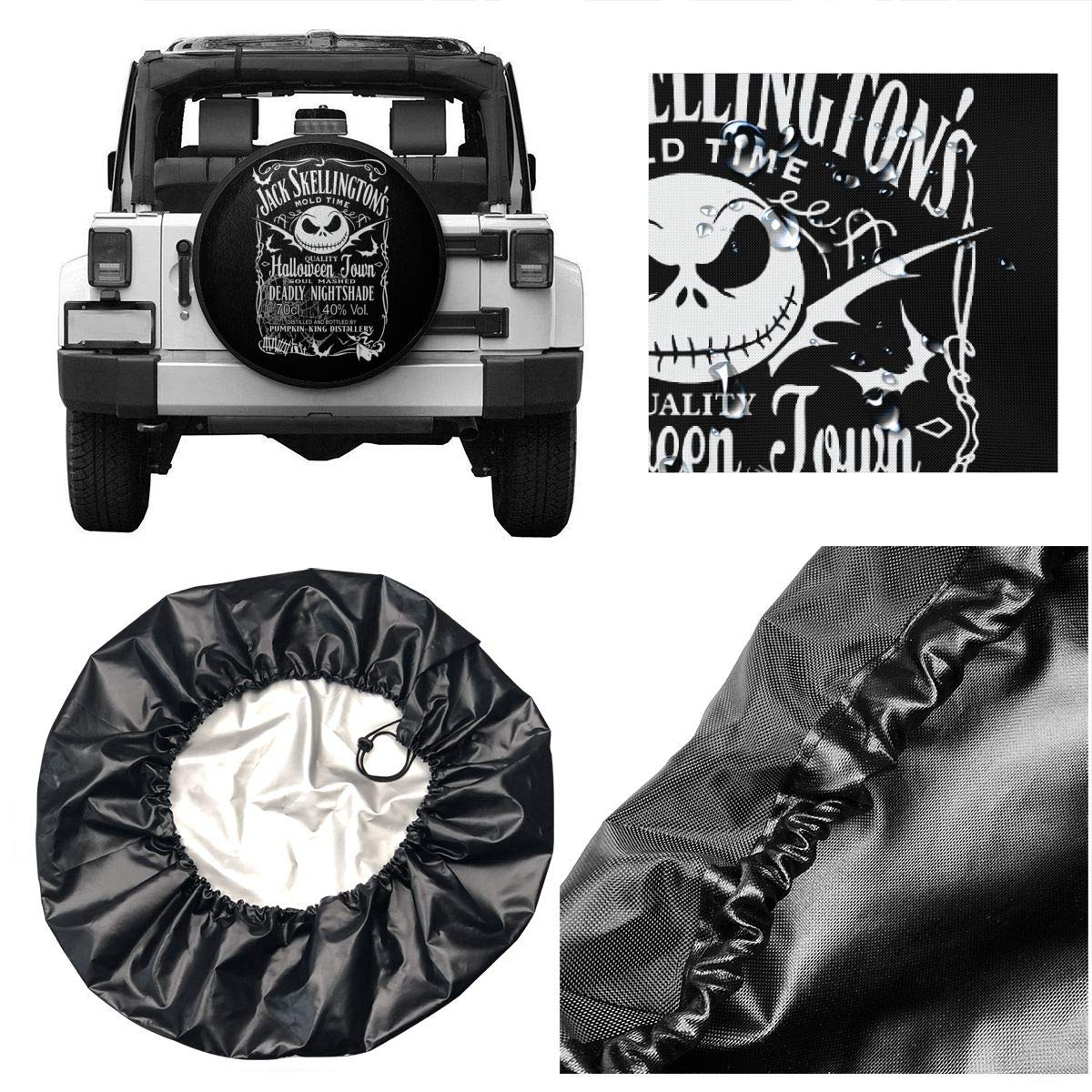 SUV and Various Vehicles RV VIORICA Spare Tire Cover Nightmare Before Xmas Pumkin King Distollery Halloween Car Tire Cover Sunscreen Protective Spare Wheel Cover Fit for Jeep Trailer