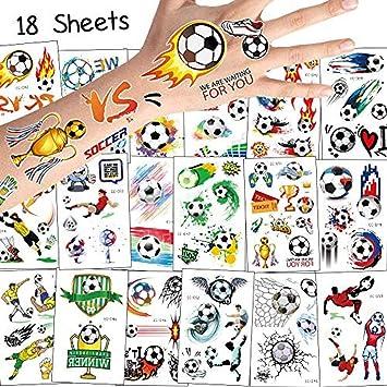 80 Unids Niños Tatuajes 18 Hojas De Fútbol Tatuajes Temporales ...