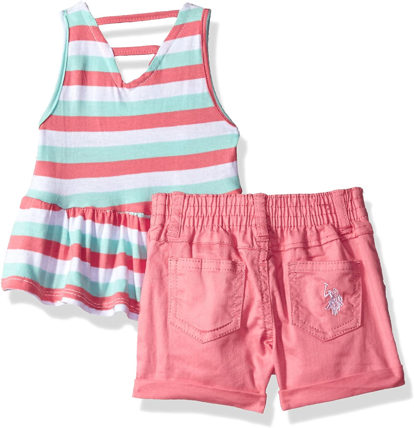 U.S White Polo Assn 10 Girls Big 2 Piece Tunic and Pull-On Short Set Jersey Tank