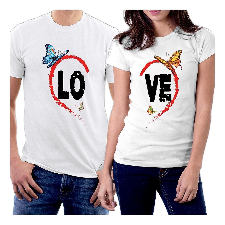 Design t shirt couple - Amazon Com Picontshirt Lo Ve Heart Butterflies Couple T Shirts Clothing