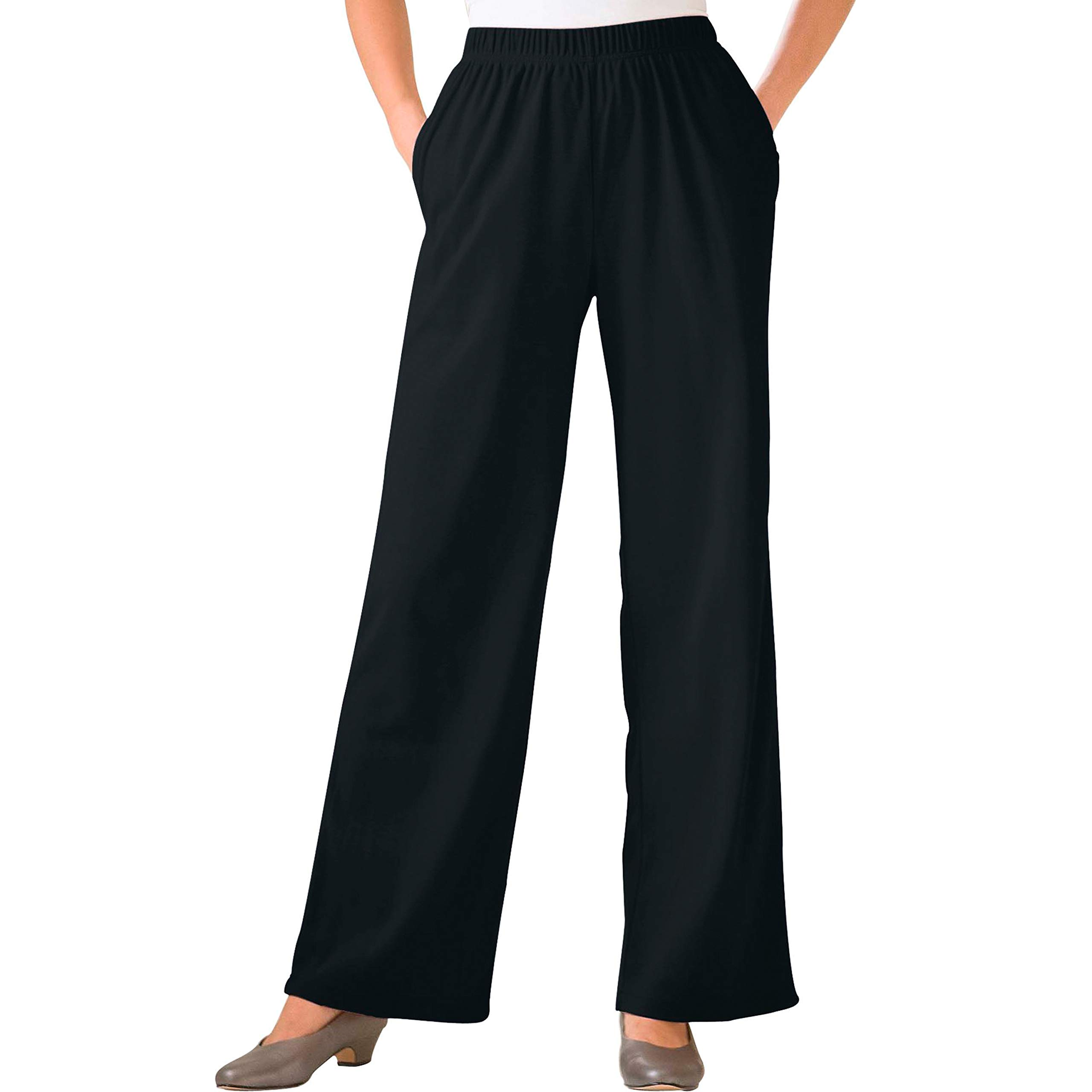 Woman Within Women's Plus Size 7-Day Knit Wide Leg Pant - Black, 1X by Woman Within