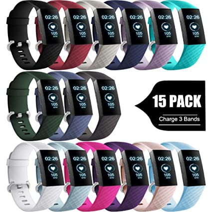 GEAK Bands Compatible with Fitbit Charge 3 / Charge 3 SE, Soft Accessory  Sports Replacement Wristbands with Secure Metal Buckle for Fitbit Charge 3