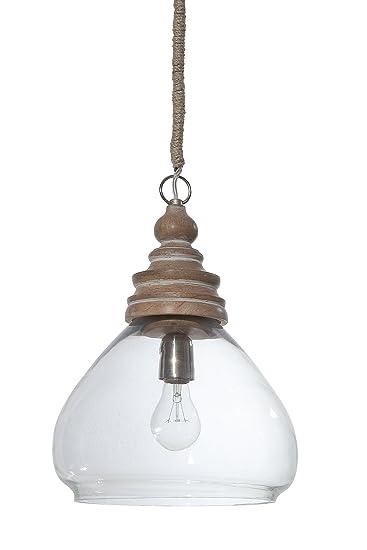 Amazon creative co op glass and mango wood ceiling pendant lamp amazon creative co op glass and mango wood ceiling pendant lamp 11 round by 15 height home kitchen aloadofball Images