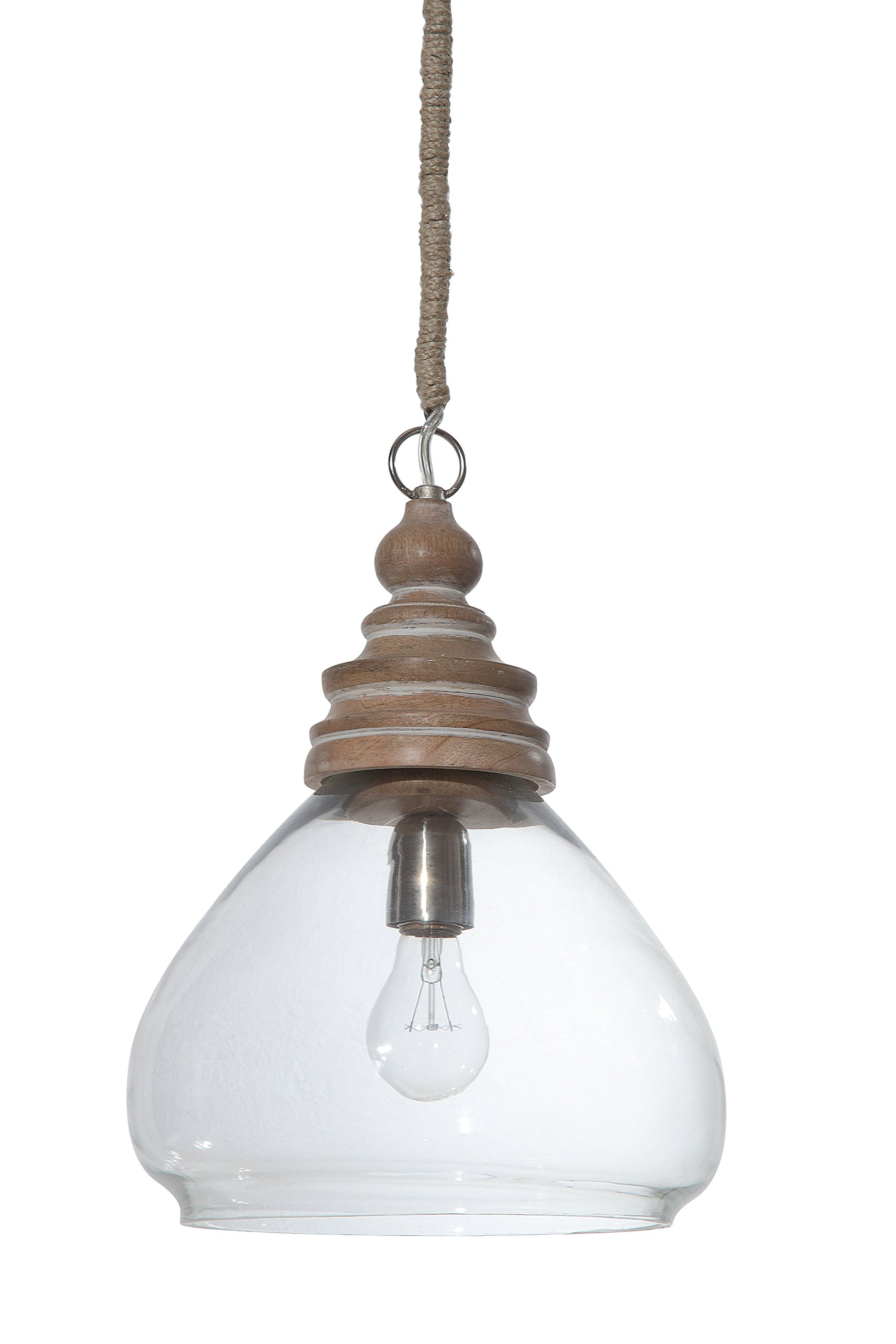 Creative Co-Op Glass and Mango Wood Ceiling Pendant Lamp, 11'' Round by 15'' Height