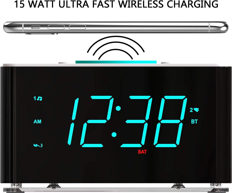 USB Charger 15Watt Ultra Fast Wireless Charging Dual Alarm Clock ...