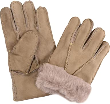 Luxury Childrens Full Sheepskin Gloves Tan, Brown, Grey, Beige, Black, Red