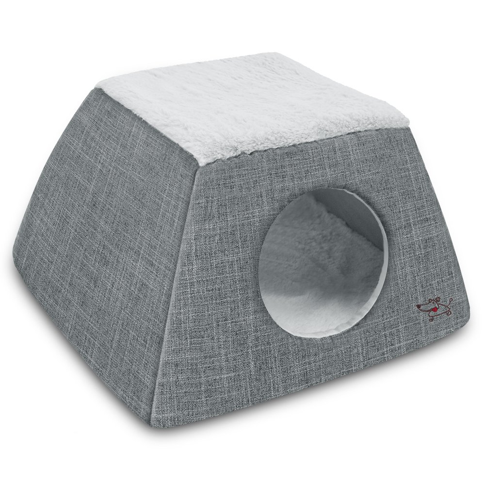 2-in-1 Cat Bed and Cave - with Plush Lining by Best Pet Supplies, Medium, Grey by Best Pet Supplies, Inc. (Image #1)