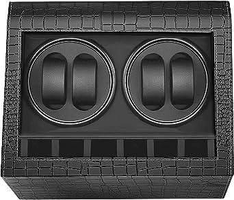 HBselect Caja Relojes Automaticos Silencioso Cajas Giratorias para Relojes (para 4+ 6 Relojes) Negro Clásico Caja De Relojes Mecánicos Caja Bobinadora: Amazon.es: Relojes