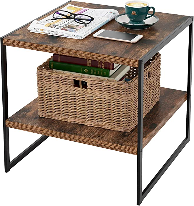 Homfa Industrial End Table, 20 Inch Square Side Table Night Stand Coffee Table with 2-Tier Storage Shelf Wood Look Accent Furniture for Living Room, Bedroom, Sturdy and Easy Assembly-Rustic Brown