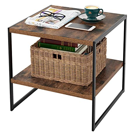 Amazon.com: Homfa Industrial End Table, 20 Inch Square Side ...