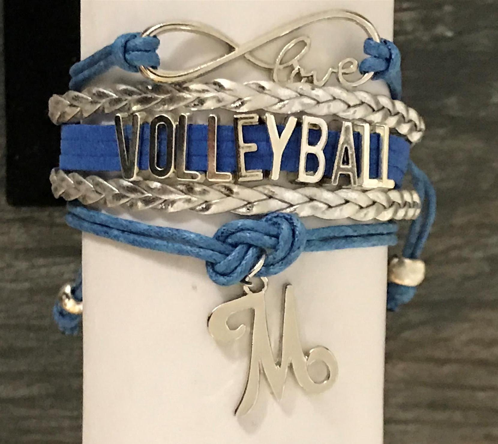 Personalized Volleyball Infinity Charm Bracelet with Letter Charm, Custom Girls Volleyball Jewelry - Perfect Gift For Volleyball Players & Teams