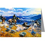 Twelve Assorted Vintage Cowboy Art Notecards of Charles M.Russell Paintings