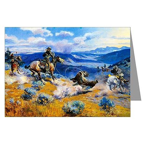 Twelve Assorted Vintage Cowboy Art Notecards Of Charles MRussell Paintings