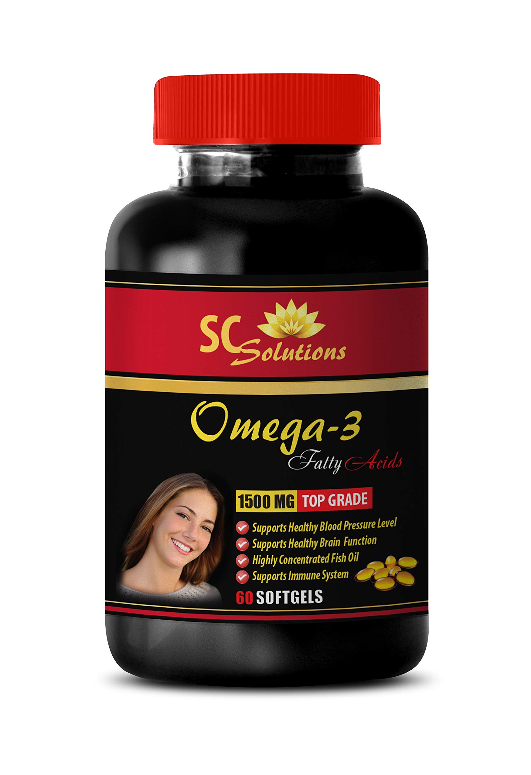 Immune Support Vitamins for Women - Omega 8060 (Fish Oil) - Omega 3 Brain Formula - 1 Bottle 60 Softgels by SKIN CARE SOLUTIONS