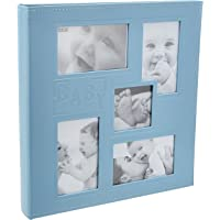 """Pioneer Collage Frame Embossed""""Baby"""" Sewn Leatherette Cover Photo Album, 4""""x6"""", 240 Photos, Baby Blue"""