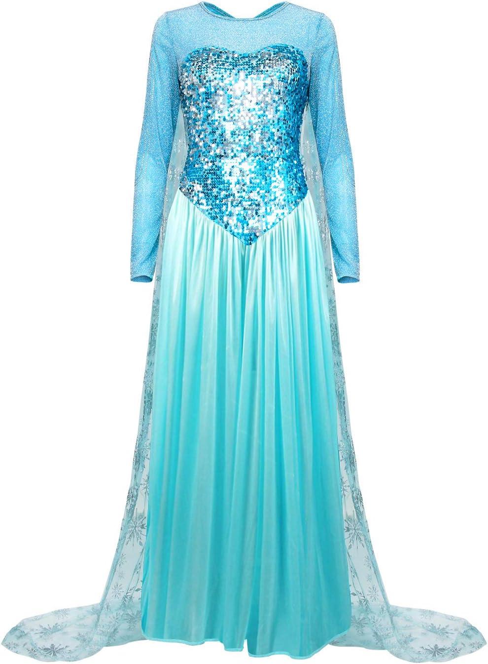 Nofonda Vestido Congelado, Vestido Largo Azul con Lentejuelas, Traje Falda Espléndido de la Princesa Elsa, Vestido Elegante para Mujer para Disfraces, Halloween, Cosplay, Carnaval (XL)
