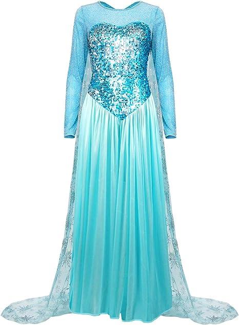 Nofonda Vestido Congelado, Vestido Largo Azul con Lentejuelas ...