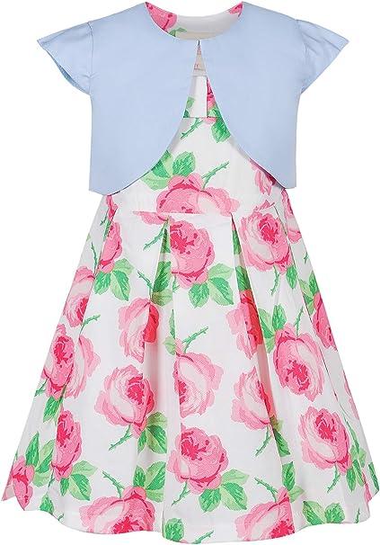 BONNY BILLY Completo Bambina Due Pezzi Cardigan Manica Lunga Vestito Floreale Senza Maniche