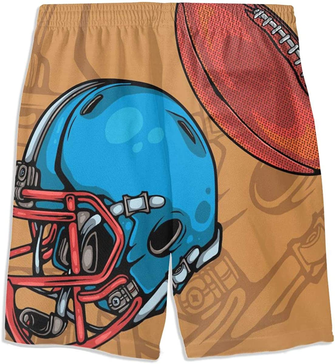 Retro Style American Football Helmet Boy Swim Trunks Fit Quick Dry Beach Shorts with Pocket