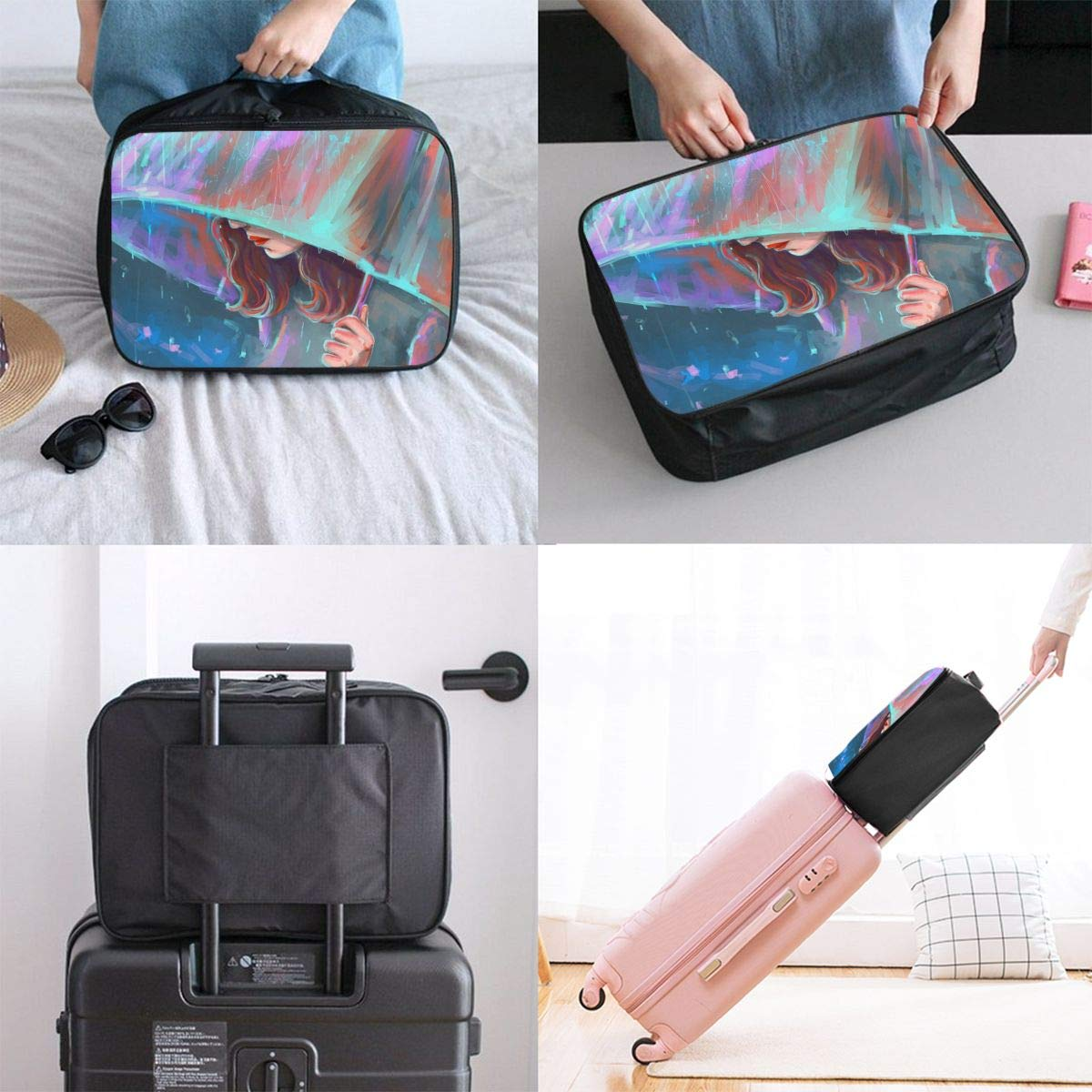 Travel Luggage Duffle Bag Lightweight Portable Handbag Umbrella Girl Pattern Large Capacity Waterproof Foldable Storage Tote