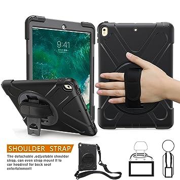 iPad Pro 10,5 caso, braecn Heavy Duty Full-body rugged PC Carcasa de silicona con portátil con correa para el hombro integrado 360 Degree soporte ...