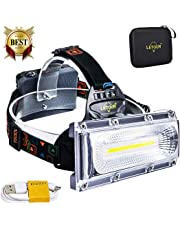 LETOUR LED Headlamps High Power COB Brightest Headlamp Waterproof 3 Lighting Modes+ Red/Blue Strobe 120° Wide-Angle Illumination 3 Rechargeable 18650 Battery Included