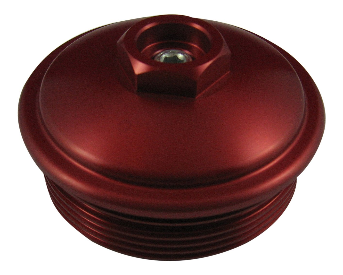 Delicate Accuratediesel 60l Powerstroke Red Billet Aluminum Fuel Filter Cap With Pressure Test Port