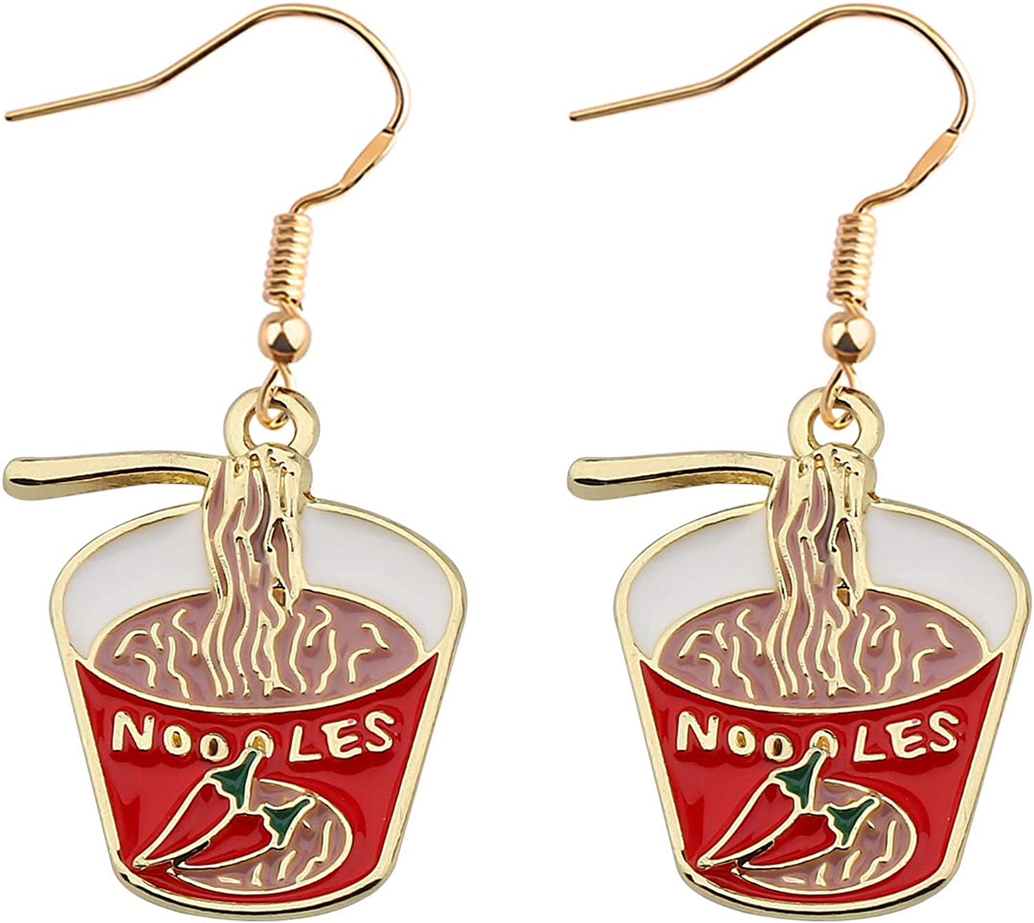 UJIMS Noodle Lover Gifts for Women Noodle Chili Enamel Earrings BFF Jewelry Noodle Food Drop Earrings for Her Gift