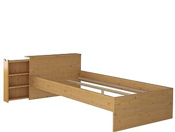 Bett Bettgestell Einzelbett 90x200 Cm Mit Stauraum Regal Im Kopfteil