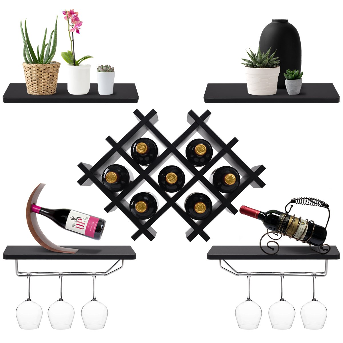 Giantex Set of 5 Wall Mount Wine Rack Set w/Storage Shelves and Glass Holder (Black) by Giantex