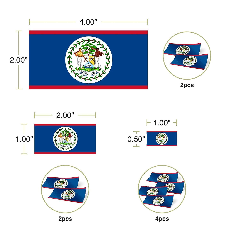 Desert Cactus Belize Country Flag Sticker Decal Variety Size Pack 8 Total Pieces Kids Logo Scrapbook Car Vinyl Window Bumper Laptop Belizean V