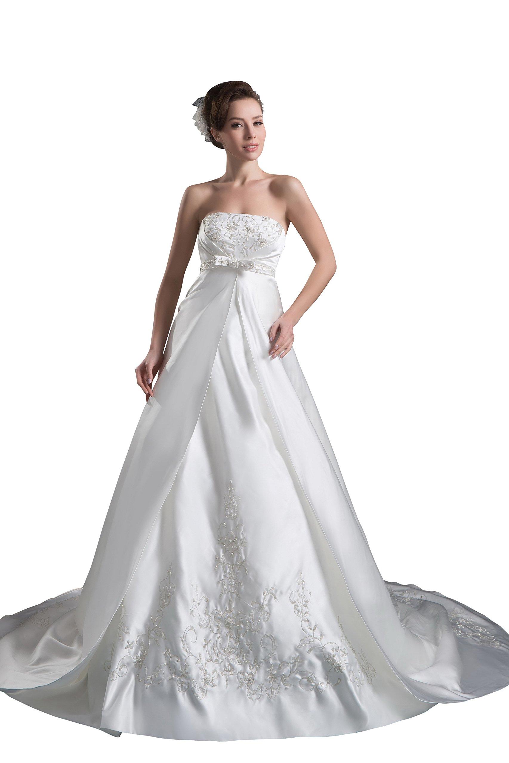 Vogue007 Womens Strapless Silk Taffeta Wedding Dress with Embroidery, White, Customized
