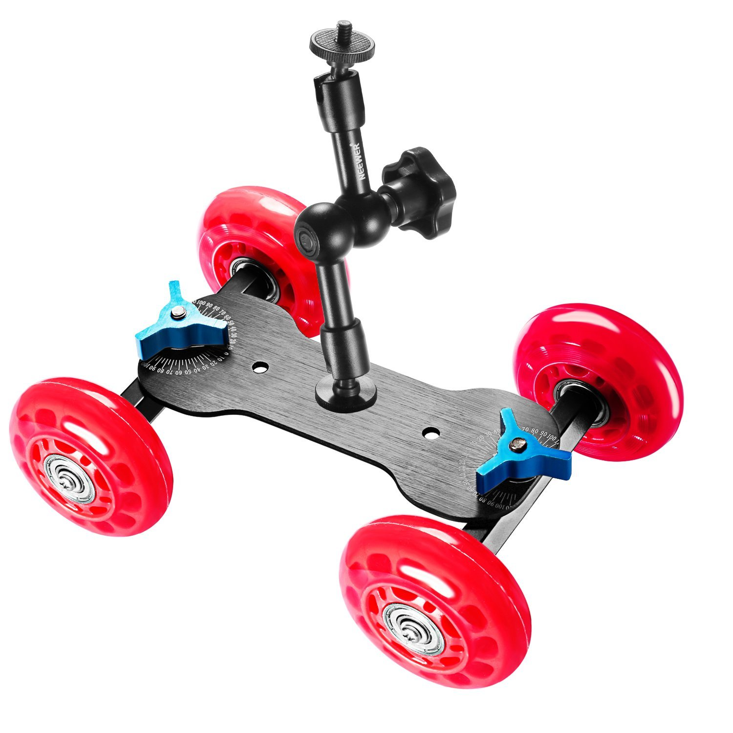 Neewer Table Mobile Rolling Slider Dolly (Red) and 7 inches Adjustable Articulating Magic Arm, Car Skater Video Track Rail Stabilizer with Load Capacity 10 kilograms/22 pounds for DSLRs Flash Lights