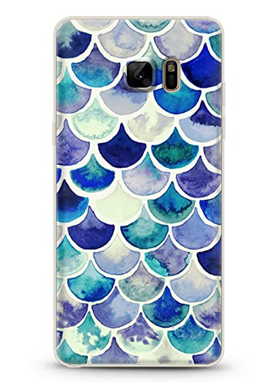 wholesale dealer a83da 4a674 Samsung Galaxy S7 Edge Case Mermaid Scales Blue Protective Tpu Bumper Phone  Case