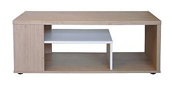 Basse Table Chêne Melinga Sablé Blanc Berlenus SMVpUz